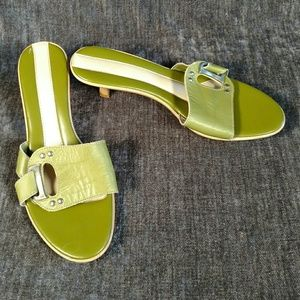 Shoes - Green & Cream Slides, Size 8.5